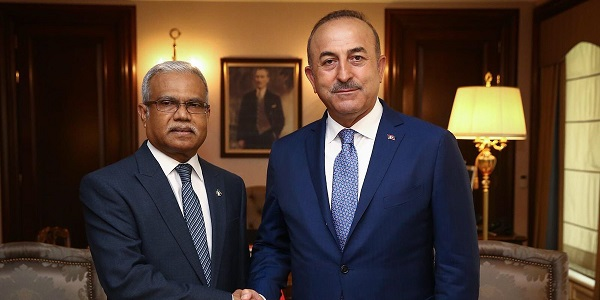 Foreign Minister Mevlüt Çavuşoğlu met with Foreign Minister Mohamed Asim of Maldives, 9 July 2018