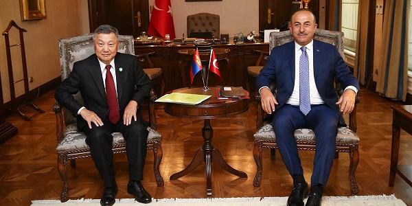 Foreign Minister Mevlüt Çavuşoğlu met with Zandaakhuu Enkhbold, Chief of Staff of the President of Mongolia, 9 July 2018