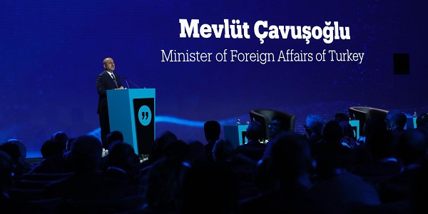 "Foreign Minister Mevlüt Çavuşoğlu attended the special session of the TRT World Forum entitled ""Exploring a Just Peace in a Fragmented World"", 4 October 2018"