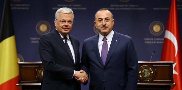 Meeting of Foreign Minister Mevlüt Çavuşoğlu with Deputy Prime Minister and Minister of Foreign and European Affairs, and Defense Didier Reynders of Belgium, 23 April 2019