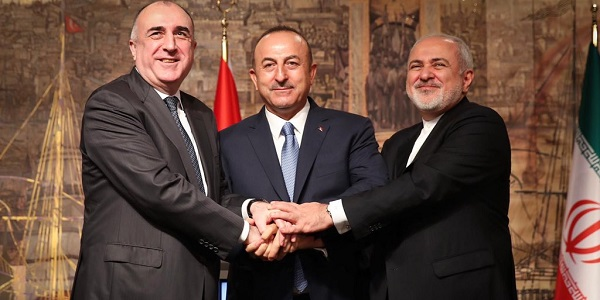 Foreign Minister Mevlüt Çavuşoğlu hosted the Sixth Turkey-Azerbaijan-Iran Trilateral Foreign Ministers' Meeting, 30 October 2018